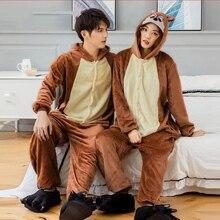 Kigurumi Winter Men Pajamas Unicorn Stitch Animal Star Onesies Adult Women Couple Costume Cosplay Flannel Plus Size