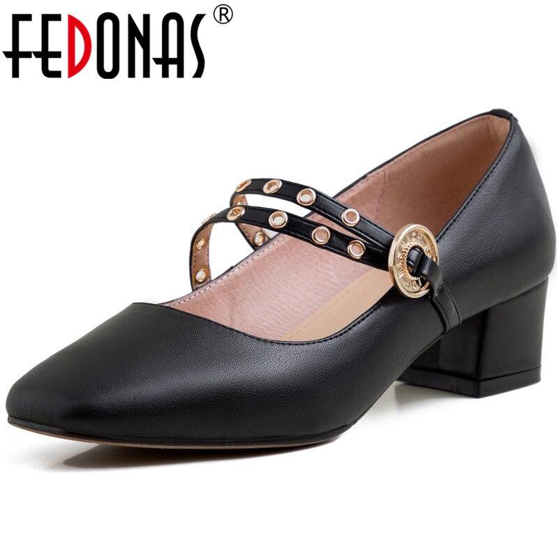 FEDONAS nouvelle boucle sangle peu profonde femmes printemps été métal décoration décontracté mariage pompes en cuir véritable doux chaussures femme