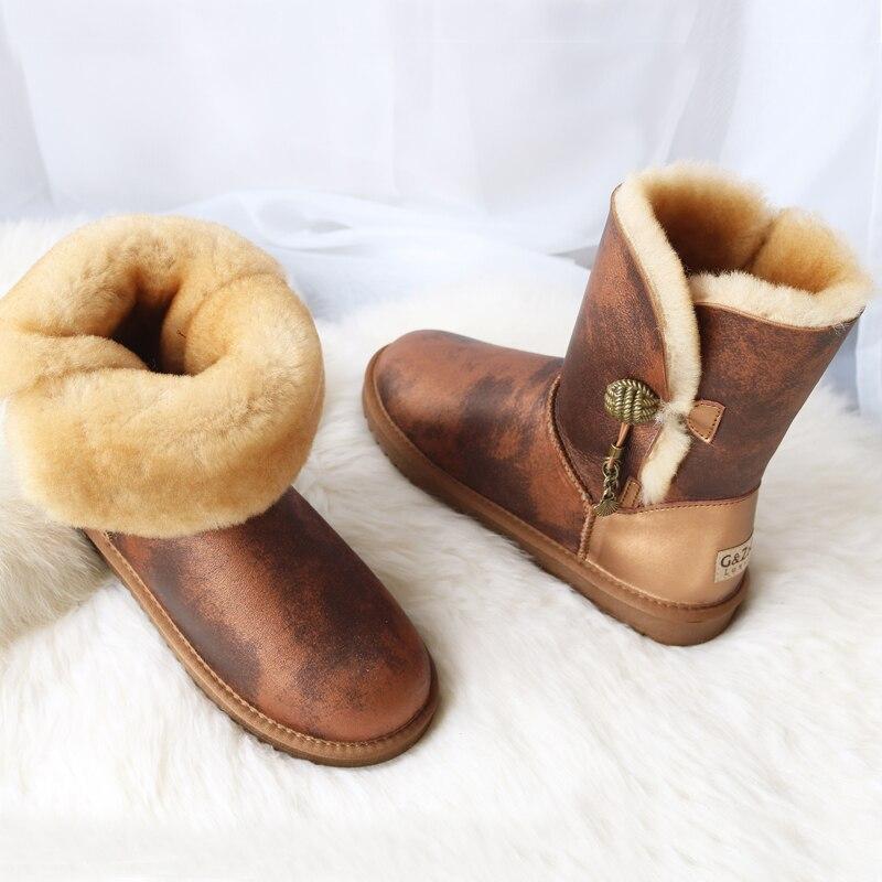 Marque femmes bottes de neige en peau de mouton véritable Learher bottes Matel bouton gland laine bottes de neige hiver plat imperméable chaussures de mouton - 6