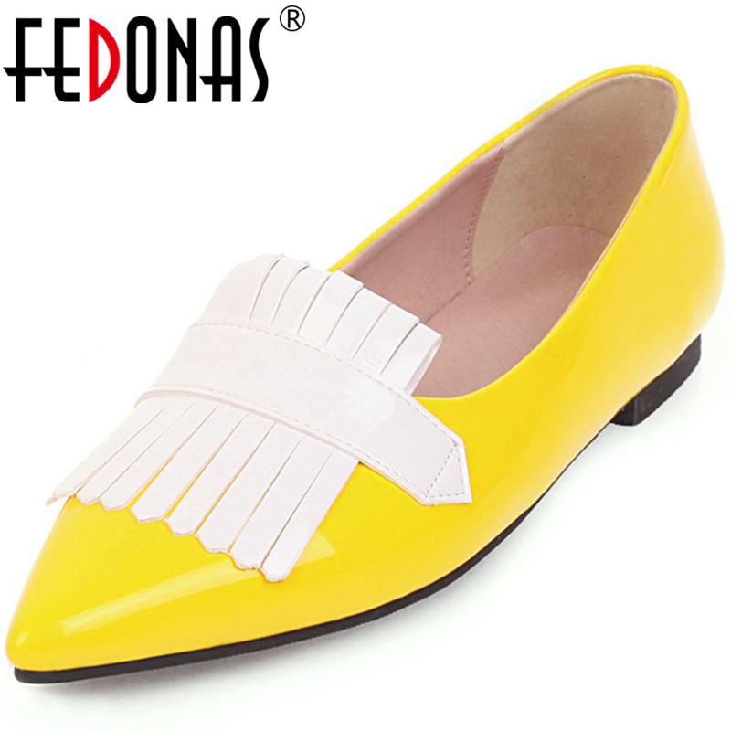 FEDONAS Sweet Patent Leather Women Shoes Classic Thick Heels Pumps Office Tassel Shoes Spring Summer Mixed Colors Shoes Woman