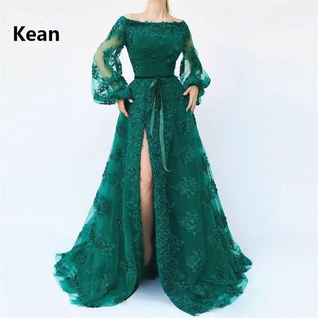 Emerald Green Muslim Evening Dress Slit Puff Sleeve vestido de festa Islamic Dubai Kaftan Saudi Arabic Evening Gown Prom Dress