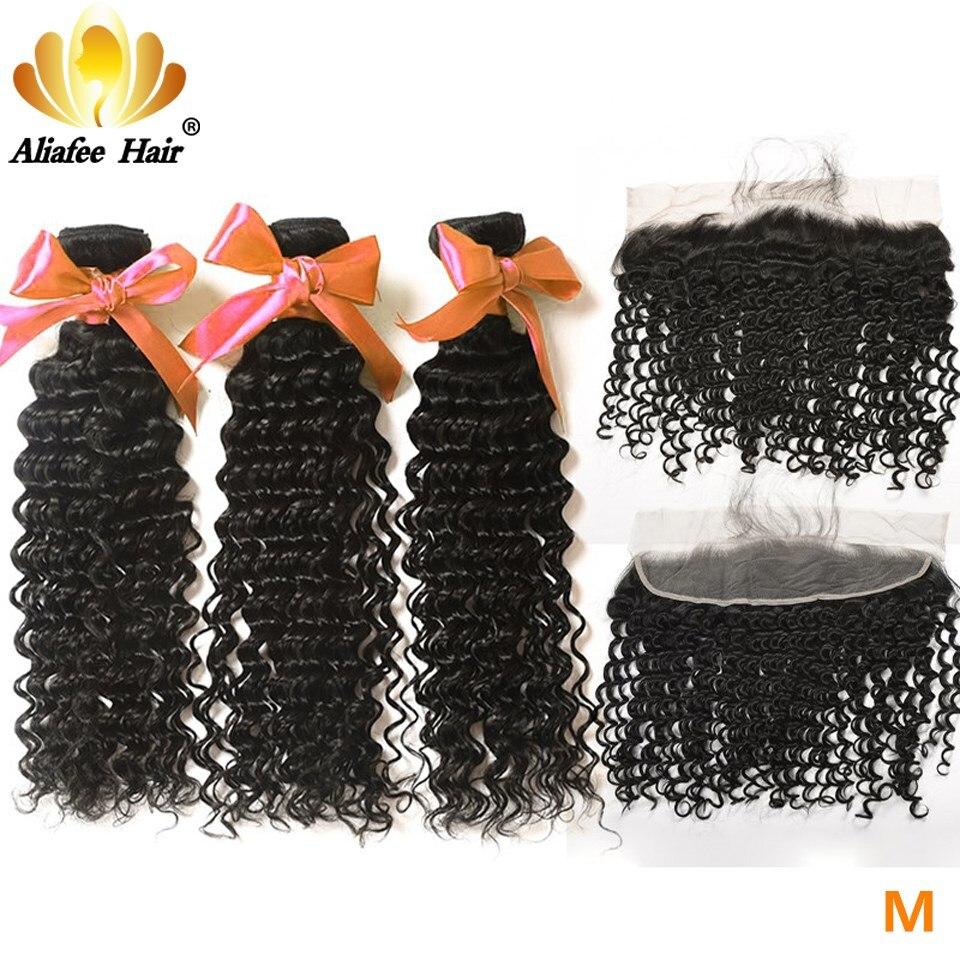 Aliafee Hair Brazilian Hair Weave Bundles Deep Wave Bundles With Frontal Non-Remy Hair 100% Human Hair 8