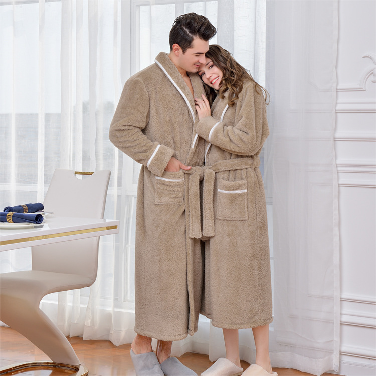 Warm Coral Fleece Men Kimono Gown Robe Winter Warm Lovers Sleepwear Nightdress Soft Solid Men Bathrobe Gown Intimate Lingerie
