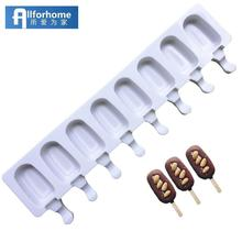 Allforhome 8/4/1 Hole Silicone Ice Cream Mould Ice Cube Tray Popsicle Barrel Diy Mold Dessert Ice Cream Mold with Popsicle Stick