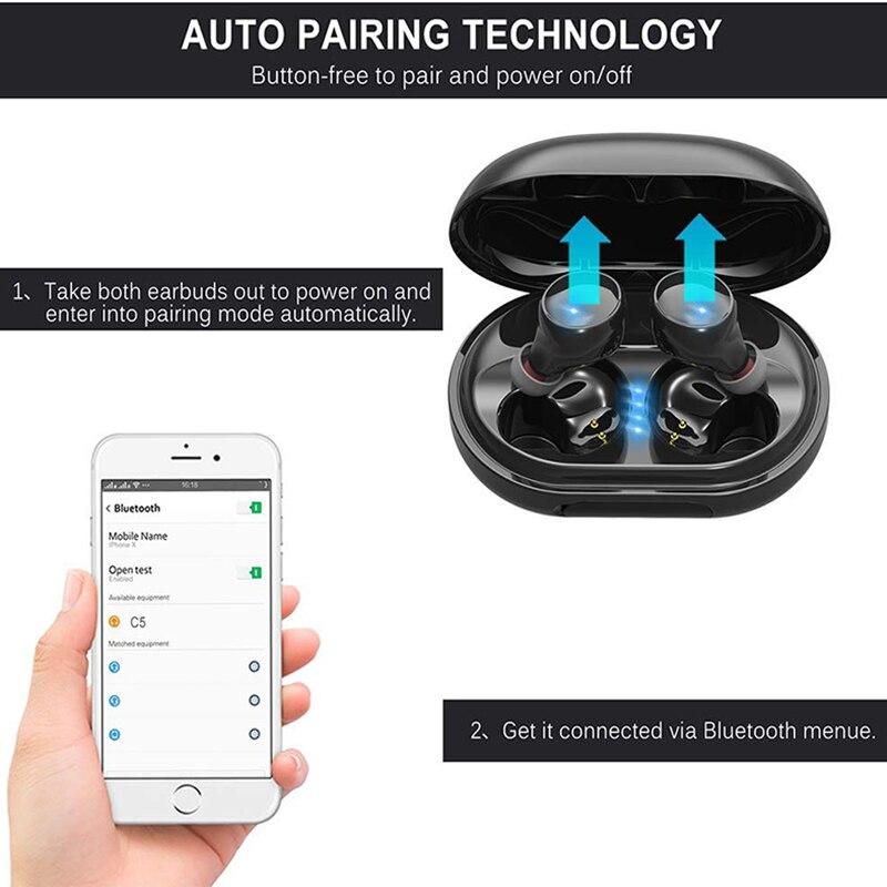 Image 2 - True Wireless Bluetooth Earphone IPX8 Waterproof Wireless  Bluetooth Headset Auto Pairing HD Sound Earbuds 3500mAh Charge  BoxBluetooth Earphones