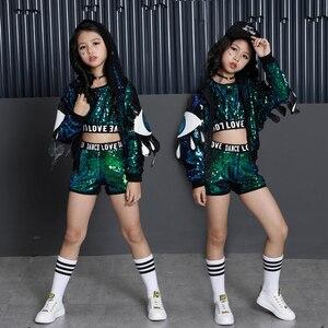 Image 2 - เด็กเลื่อม Hip Hop Hoodies เสื้อแจ็คเก็ตเสื้อผ้าสำหรับสาว Crop Tank Top เสื้อกางเกงขาสั้น JAZZ Dance Ballroom เต้นรำเสื้อผ้าสวมใส่