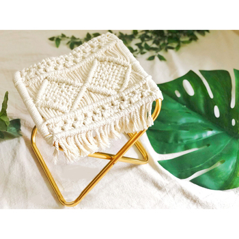 Gold rope knitted little Mazar folding portable pouf tricot small stool