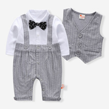 Newborn Baby Romper Summer Baby Boys Clothes Gentleman Baby Jumpsuit+Vest Jacket  Clothes Kids Costume For Baby Overalls Clothes