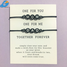 Bracelet Handmade Jewelry Letter Dad Adjustable-String Black-Color for Men Rope Mom