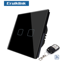 Eruiklink Remote control switch, touch wall switch, Tempered Glass Crystal Panel Touch Switch, EU/UK Standard Wall Light Switch