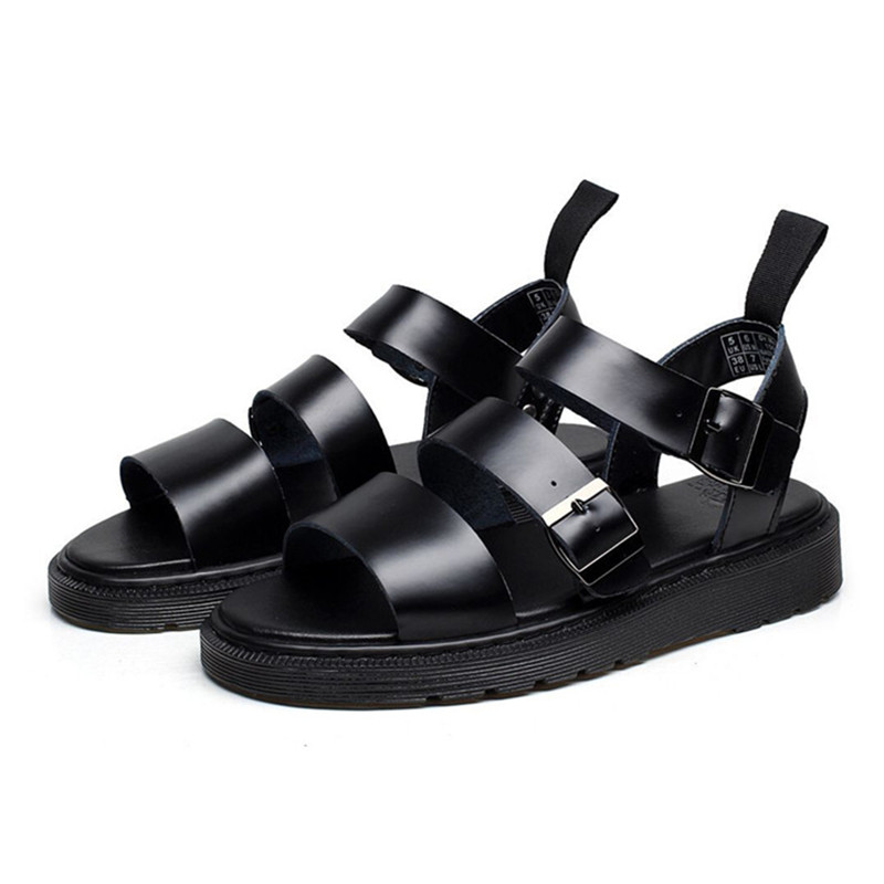Punk Style Women Gladiator Sandals Black Flat Shoes Woman Casual Thick Heel Beach Flats Sandalias Mujer 2020 Summer