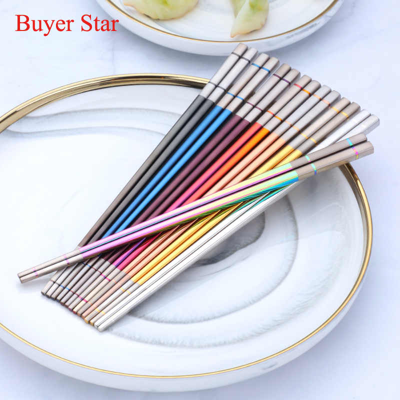 1 Pair Stainless Steel Chopsticks Chinese Reusable Non-Slip Sushi Chop Sticks  F
