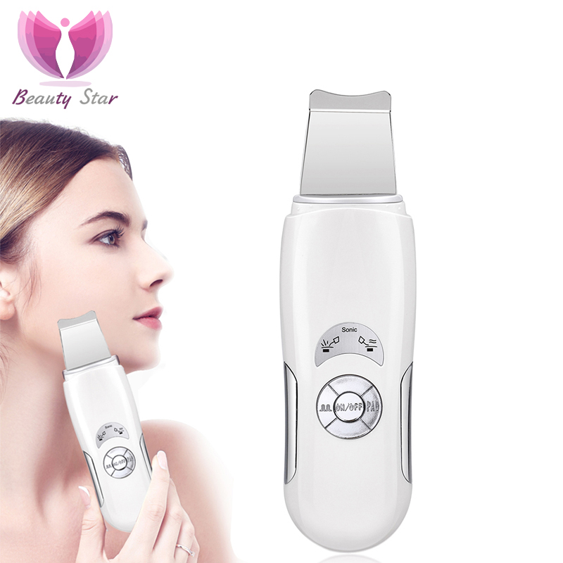 Beauty Star Ultrasonic Face Cleaning Skin Scrubber Facial Massage Machine Anion Skin Deeply Cleaning Peeling Face Lift Scrubber