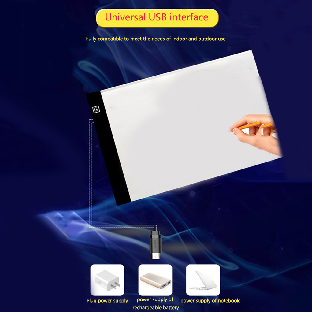 <font><b>LED</b></font> <font><b>Light</b></font> <font><b>Pad</b></font> <font><b>A5</b></font> Drawing Board DIY Luminous Copy Table <font><b>LED</b></font> Cartoon PaintingWriting Tablet image