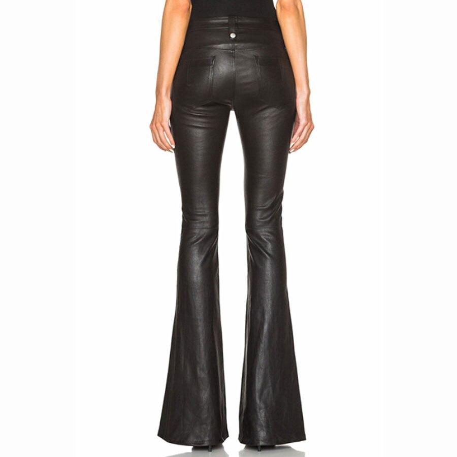 2018 ฤดูใบไม้ร่วงฤดูใบไม้ร่วงฤดูใบไม้ร่วงฤดูใบไม้ร่วงฤดูใบไม้ร่วงฤดูใบไม้ร่วงฤดูใบไม้ร่วงฤดูใบไม้ร่วงฤดูใบไม้ร่วงกางเกงสีดำกางเกงผู้หญิง Pu หนังกางเกง Streetwear คุณภาพสูงสไตล์อังกฤษขากว้างกางเกงขายาว-ใน กางเกงและกางเกงรัดรูป จาก เสื้อผ้าสตรี บน   2