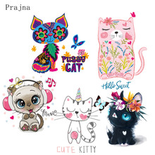 Prajna DIY Cartoon Transfer Iron On Transfers For T Shirt Kids Cat Heat Patches Clothing Stickers Stripe Clothes
