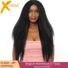 Natuurlijke Zwarte Kleur Synthetisch Haar Lace Front Pruiken Afro amerikaanse Kapsel X TRESS Lange Kinky Rechte Kant Pruik Middelste Deel