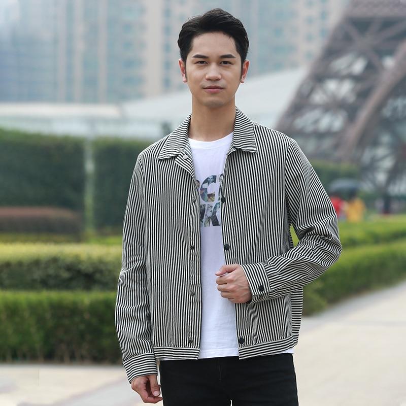 Hommes veste 2019 automne vêtements à manches longues rayé chemise printemps décontracté coton mode hommes manteau fabricants en gros