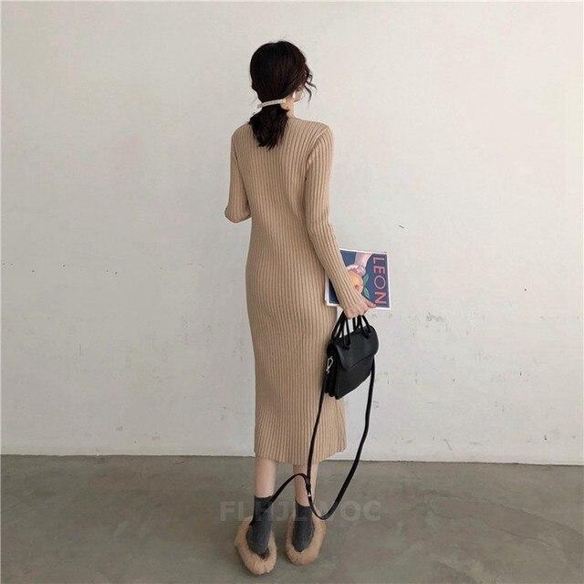 Zimowe sukienki typu basic długie kobiety moda z długim rękawem biuro Temperament Lady przycisk dzianiny sweter sukienka czarna Korea ubrania 020