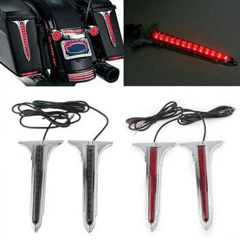 Chrome cunha led traseiro alforje acentos luz de advertência parar luz para harley touring road king electra glide rua glide