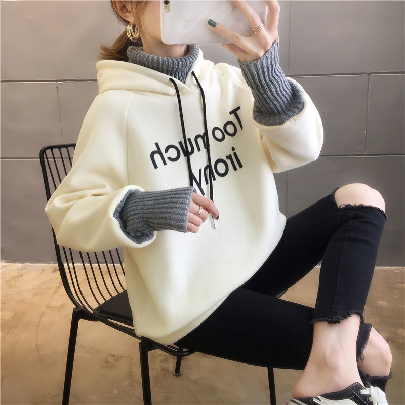 Autumn and Winter New Korean Version of Women's Hooded High Collar Fake Two Fashionable Tops with Plush Thickening for Students 17