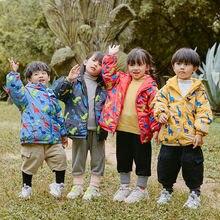 2020 Зимняя Куртка парка с принтом динозавра Двусторонняя пуховая