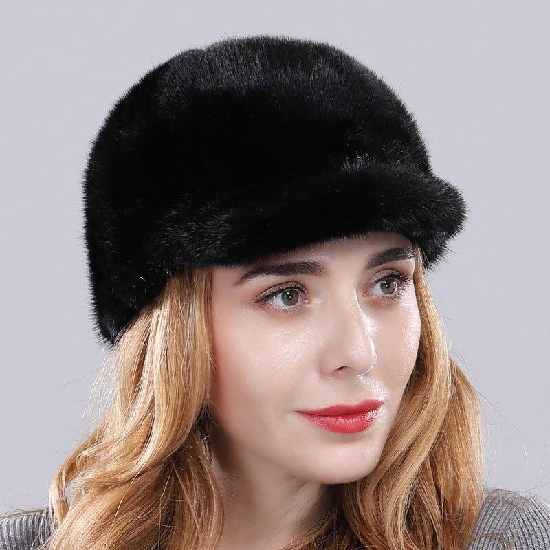 Роскошная женская Норковая меховая шапка зимняя Осенняя модная Натуральная норковая меховая бейсболка Регулируемая брендовая качественная - Цвет: black