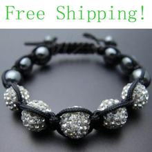 White 10mm 5x Disco Ball Bead crystal Bracelet Wholesale Free Shipping FBB7788 crystal Bracelets Jewelry For(China)
