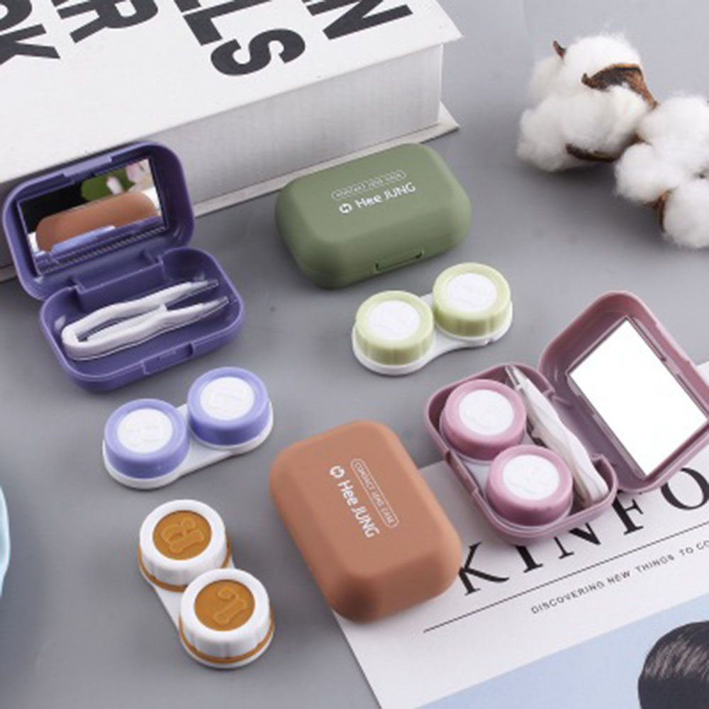 Frosted Mini Rubber Paint Square Contact Lens Case With Mirror Women Colored Contact Lenses Box Packaging Makeup Organizer