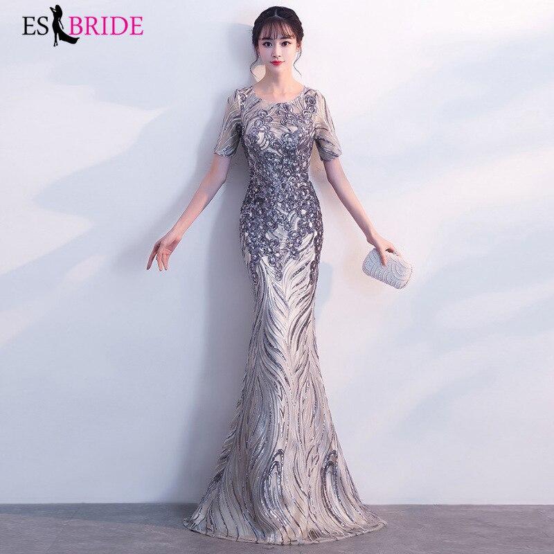 ES2700 Formal Dresses Evening Gown Long Dress Women Elegant Appliques Sequin Evening Dress Party Vestidos De Fiesta De Noche