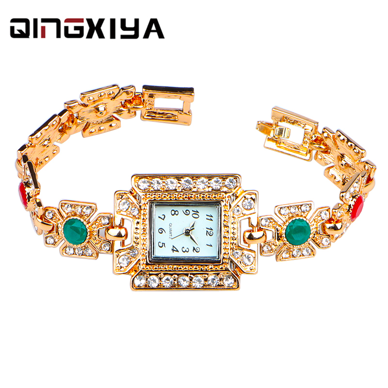 QINGXIYA Luxury Women Watches Gold Bracelet Stainless Steel Quartz Ladies Wrist Watch For Female Relogio Feminino Diamond Watch