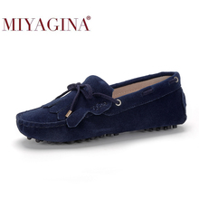 Driving Shoes Loafers Moccasins Women's Flats Spring Slip-On Fashion Casual Summer 100%Genuine-Leather