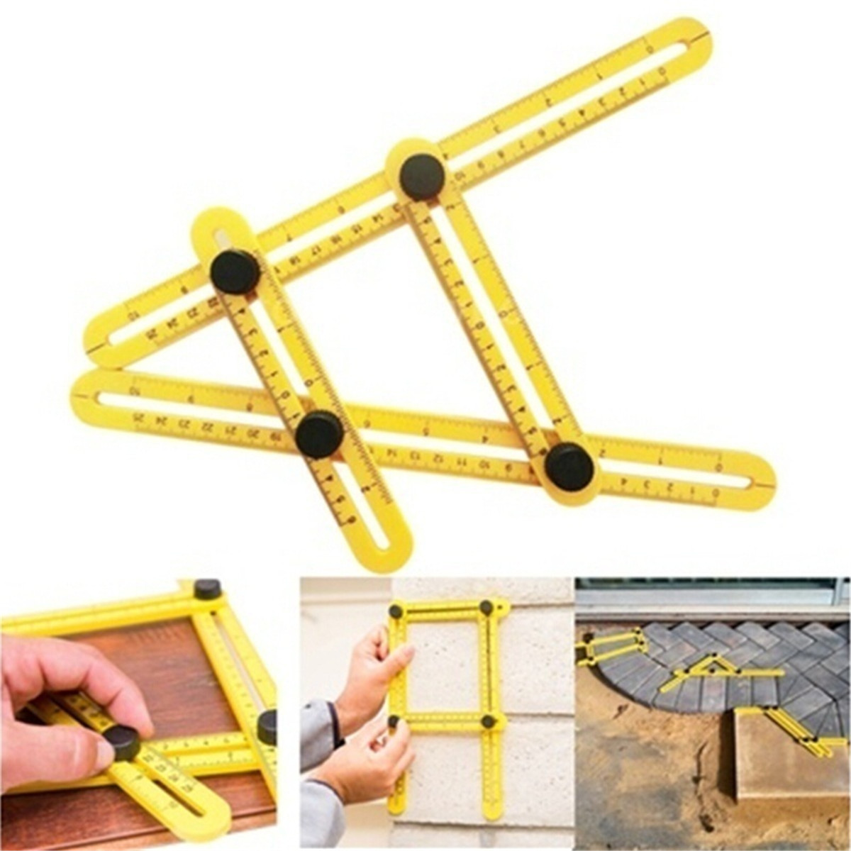 Drawing Ruler Office Multifunction Multi-angle Drawing Ruler Gauge Four Corners Activities Folding Feet Hardware Measure Tools