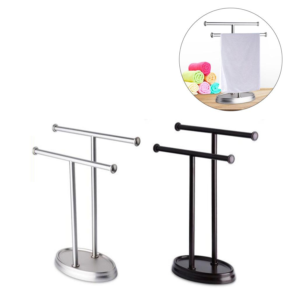 Stainless Steel Household Towel Rack Floor Double Pole Bathroom Double T shaped Towel Rack Bottom With EVA Anti skid Pad