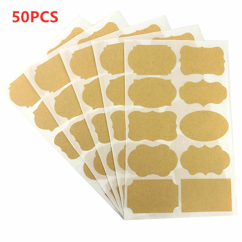 50 Pcs 5x3.5cm Handmade Blackboard Sticker Vintage Blank Kraft Label Sticker For Gift Cake Baking Sealing Sticker Chalk Board