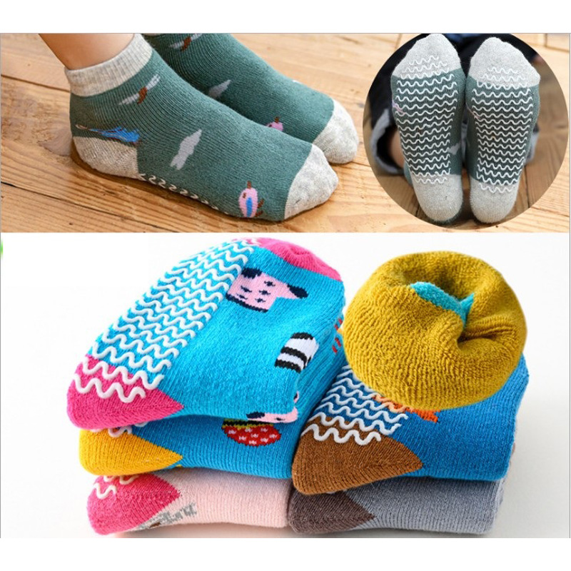 Children Socks Winter New Free Shipping 80% cotton non slip character kids Thickening sock 0-7year girl boy 6pair wholesales 3