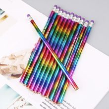 12Pcs Rainbow Pencil Wood Environmental Protection Bright Color HB Drawing Painting Pencils School Office Writing Pen
