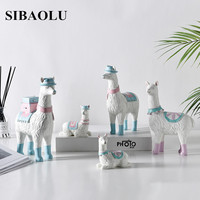 Nordic Ins Small Simulation of Alpaca Ornaments Resin Feng Shui Crafts Decorations Home Decoration Accessories for Living Room