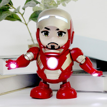 Creative Hero Dance Iron Man Avengers Action Figure Toy LED Flashlight with Light Sound Music Robot