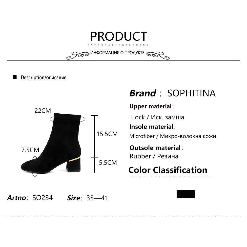 SOPHITINA moda bayan botları rahat yuvarlak ayak kare topuk ayakkabı düz el yapımı 5.5 cm yeni dış yüksek topuk kadın botları SO234