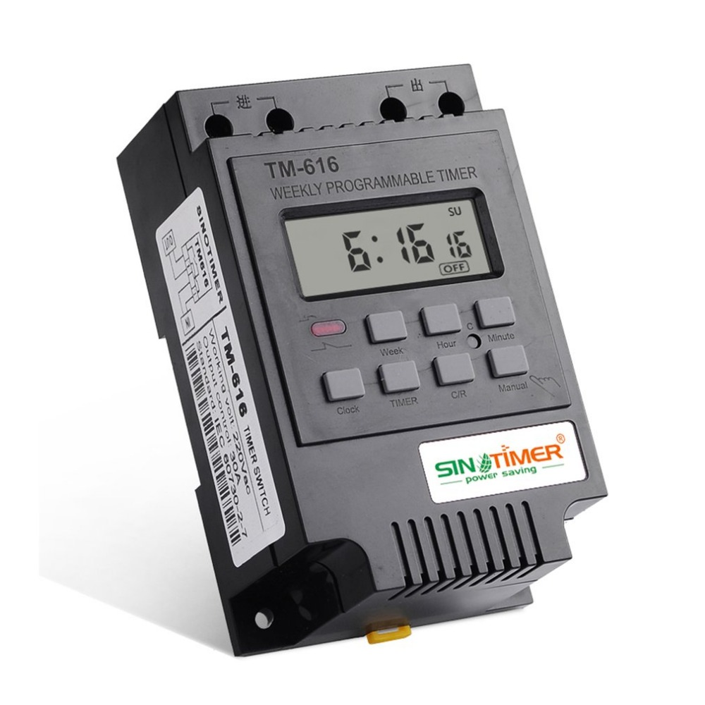 SINOTIMER TM616B-2 30A 220V Electronic Weekly Programmable Digital TIME SWITCH Relay Timer Control Timer Din Rail Mount