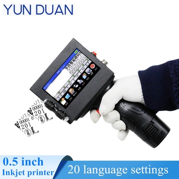 Date/logo/digit printer  handheld inkjet with USB import code/picture 12.7mm nozzle Portable touch