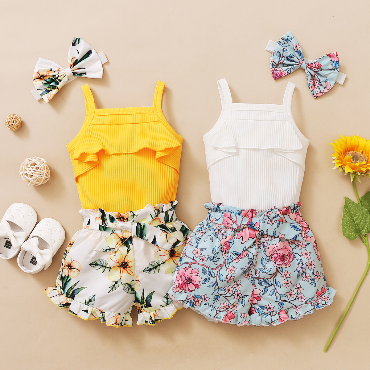 3Pcs Newborn Baby Girls Summer Clothes Cute Beach Boho Strap Ruffle Romper Floral Shorts Toddler Outfit Baby Girls Clothing 1