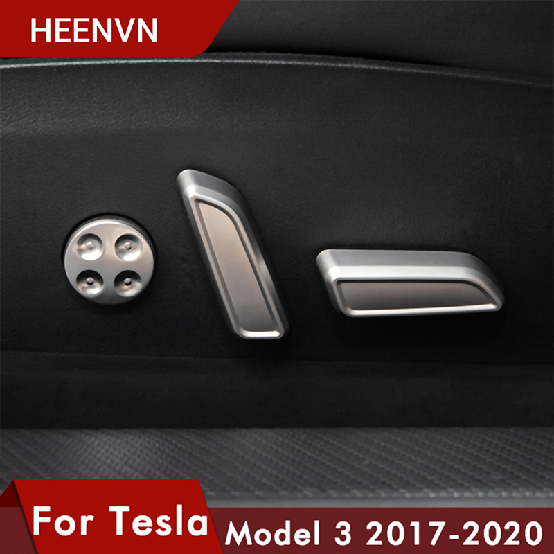 Heenvn Model3 Car Seat Button Decorative For Tesla Model 3 Accessories Seat Adjust Knob Cover For Tesla Model Three accessory