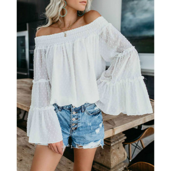 цена на Autumn Spring Flare Sleeve Blouse Plus Size Loose Tops 2019 Women Fashion Casual Off Shoulder Tops Blouse Trumpet Sleeve Shirt