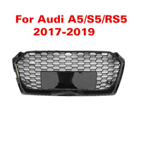 For Audi A5 S5 RS5 17 19 Racing Grills Front Sport Hex Mesh Honeycomb Hood Grill Gloss Black For RS5 Style 2017 2018 2019