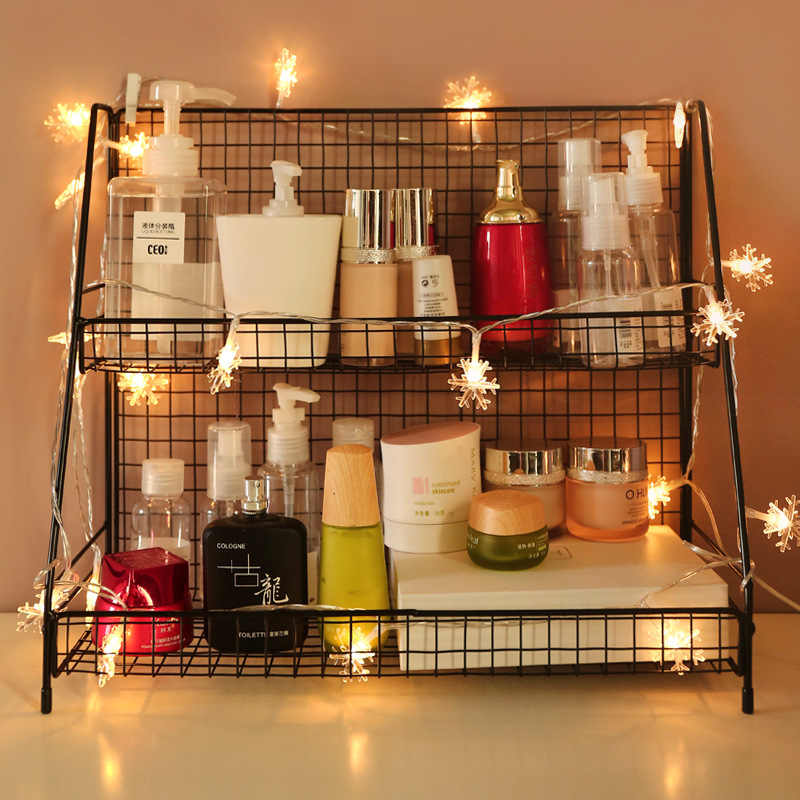 Iron Art Grondstoffen Plank Cosmetica Opbergrek INS Keuken Plank Bureau op Dubbele Laag Slaapzaal Nuttig Product Desktop Storage