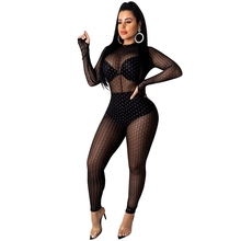 Sexy Club Jumpsuits Overalls for Women Elegant Glitter Mesh Party Jumpsuit Romper Long Sleeve One Piece Black Bodycon Jumpsuit