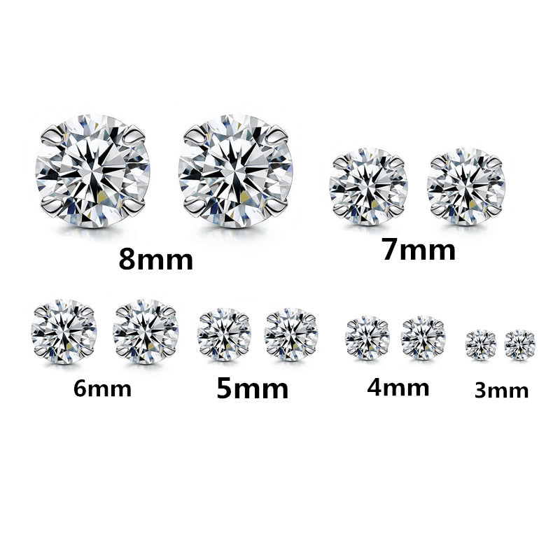 New Arrivals 3mm/4mm/5mm/6mm/7mm/8mm Crystal 925 Silver Stud Earring Fashion Women Crystal Earrings Brincos Pendientes De Plata