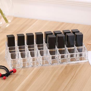 24 siatka stojak na szminki kosmetyczny organizator na przybory do makijażu uchwyt stojak na akcesoria stojak na przybory domowe organizator na przybory do makijażu s tanie i dobre opinie CN (pochodzenie) Akryl 9 062*3 743*2 176(inch) Transparent 24 Grid storage box